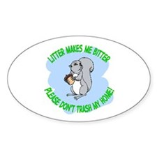 Bitter Litter Squirrel Oval Decal