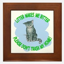 bitter litter kitty cat Framed Tile