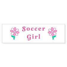 Soccer Girl Flower Bumper Bumper Sticker