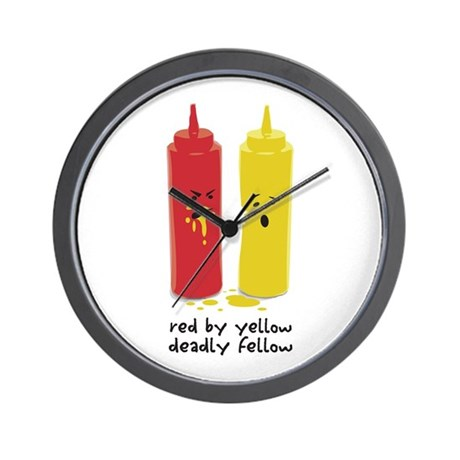 Red By Yellow Wall Clock