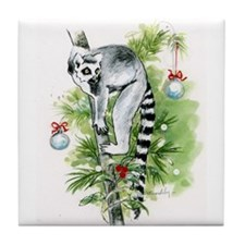 Ring-Tailed Lemur Holiday: Up A Tree Tile Coaster