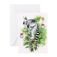 Ring-tailed lemur holiday: UP A TREE Greeting Card