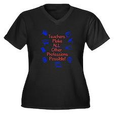 Unique School and education Women's Plus Size V-Neck Dark T-Shirt