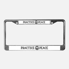 practice peace License Plate Frame