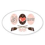 Peace Love Row Crew Oval Sticker