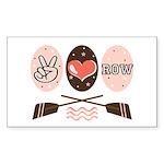 Peace Love Row Crew Rectangle Sticker