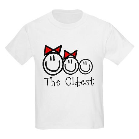 Oldest of 3 (GGB) RED BOWS Kids Light T-Shirt