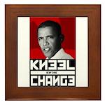 Obama Kneel Before Change Framed Tile