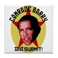 Comrade Barry Says Submit Tile Coaster