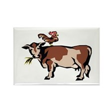 Brown Chicken Brown Cow 3 Rectangle Magnet