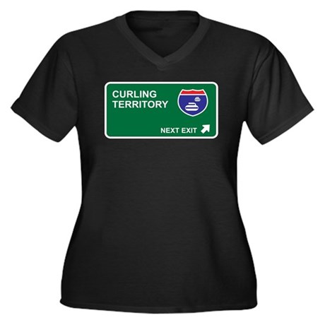 Curling Territory Women's Plus Size V-Neck Dark T-