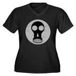 Gas Mask Women's Plus Size V-Neck Dark T-Shirt