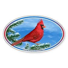 Cardinal Bird Bumper Oval Decal