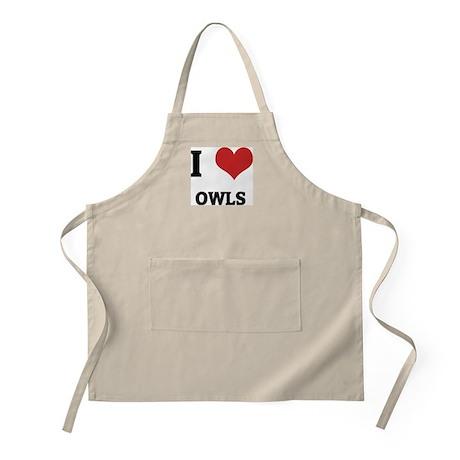 I Love Owls BBQ Apron
