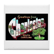 Charleston South Carolina Greetings Tile Coaster