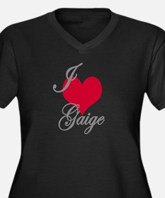 I love (heart) Gaige Women's Plus Size V-Neck Dark