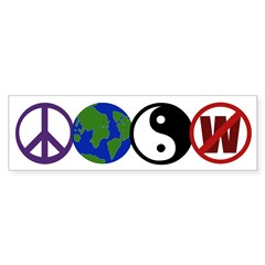 Peace, Earth, Yin-Yang, Not W (bumper sticker)