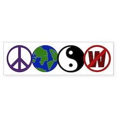 Peace, Earth, Yin-Yang, Not W (bumper sticker)