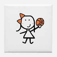 Girl & Basketball Tile Coaster