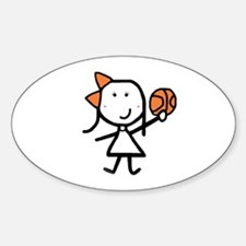 Girl & Basketball Oval Bumper Stickers