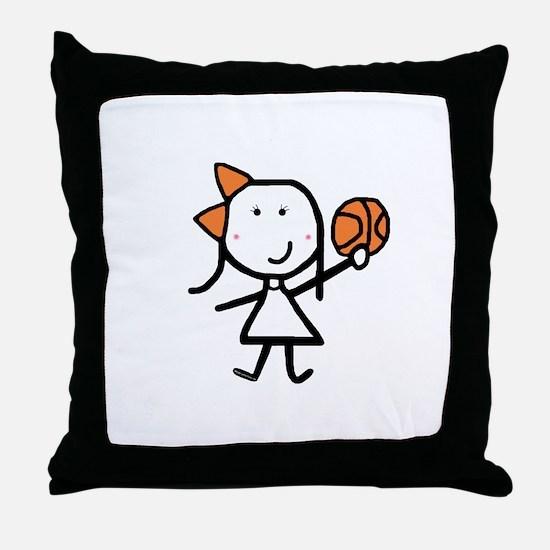Girl & Basketball Throw Pillow