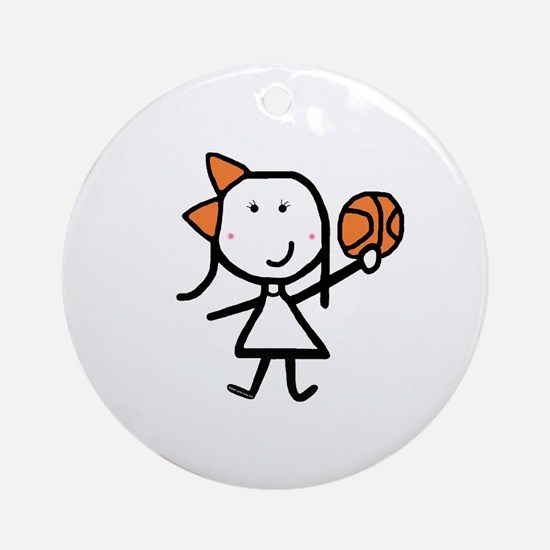 Girl & Basketball Ornament (Round)