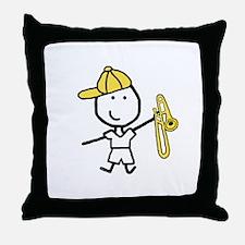 Boy & Trombone Throw Pillow