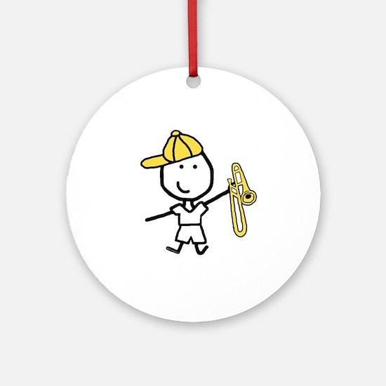 Boy & Trombone Ornament (Round)