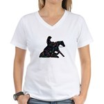 Reining Horse Sliding Stop Flowers Women's V-Neck