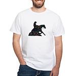 Reining Horse Sliding Stop Flowers White T-Shirt