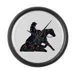 Reining Horse Sliding Stop Flowers Large Wall Cloc