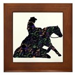 Reining Horse Sliding Stop Flowers Framed Tile