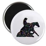 Reining Horse Sliding Stop Flowers Magnet