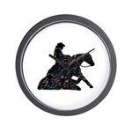Reining Horse Sliding Stop Flowers Wall Clock