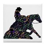 Reining Horse Sliding Stop Flowers Tile Coaster