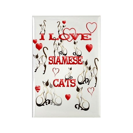 I Love Siamese Cats Rectangle Magnet