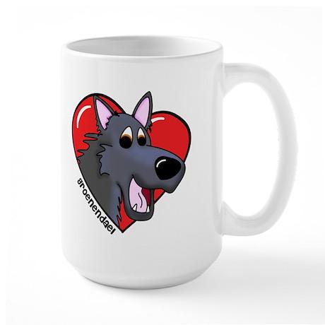 Cartoon Groenendael Love Large Mug