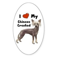 I Love My Chinese Crested Oval Decal