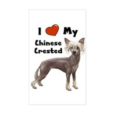 I Love My Chinese Crested Rectangle Decal