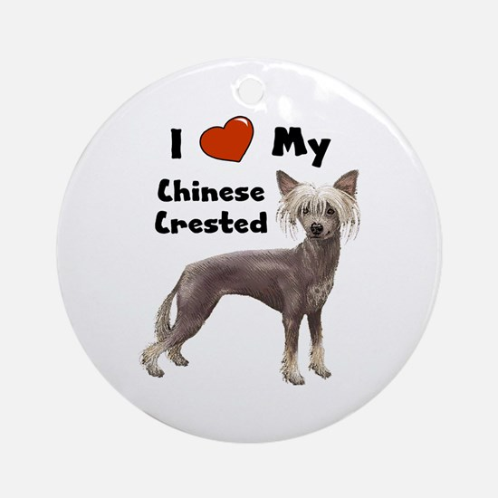 I Love My Chinese Crested Ornament (Round)