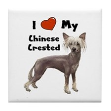 I Love My Chinese Crested Tile Coaster