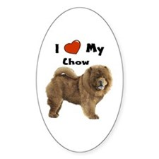 I Love My Chow Oval Bumper Stickers
