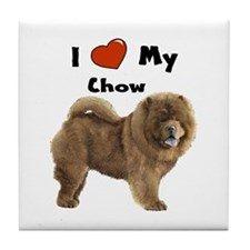 I Love My Chow Tile Coaster