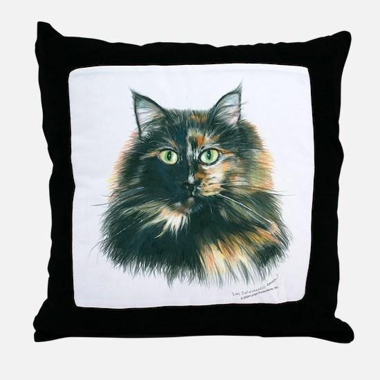 Tortoiseshell Maine Coon Cat Throw Pillow