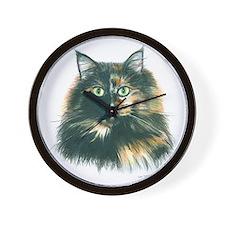 Tortoiseshell Maine Coon Cat Wall Clock
