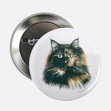 Tortoiseshell Maine Coon Cat Button