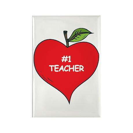 Heart Apple #1 Teacher Rectangle Magnet (100 pack)