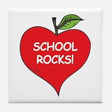 Heart Apple School Rocks Tile Coaster