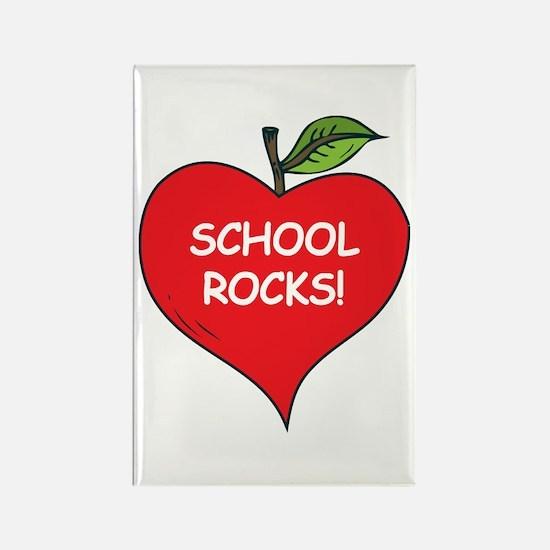 Heart Apple School Rocks Rectangle Magnet