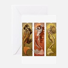 Mermaids Nouveau Greeting Card